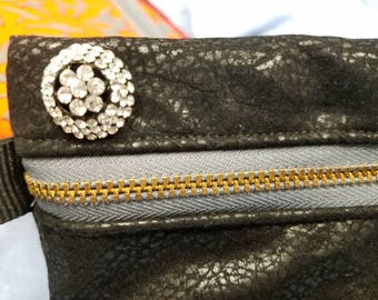 Leather look zippered bag makeup pouch purse  black