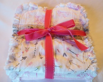 Baby Girl Rag Quilt Burp Cloths Set of 3 Burp Towels Modern Woodland Forest Deer Arrows Pink Gray White Cotton Chenille