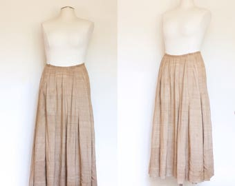 vintage Edwardian linen full skirt / antique 1900s 1910s flax colored natural petticoat / M - L