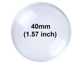 10 pcs. Circle Clear Round Glass Dome Seals Tiles - 40mm (1.57 inch)