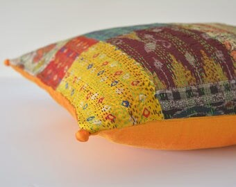 Vintage Kantha Decorative Pillow Cover with Potli Pom Pom Detail , Kantha Cushion Cover with Pom Poms , Vintage Kantha Decorative Pillow