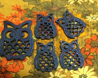 Vintage Owl Trivet Set of 5 Retro Mod