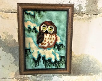 Vintage Needlepoint Owl Winter Aqua Turquoise Handmade Framed
