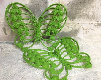 Big Burwood Butterfly Pair Vintage Mod Lime Green Wall Hanging