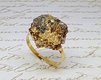 Pyrite Gold Ring, Raw Pyrite Ring, Raw Crystal Ring, Rough Crystal Ring, Raw Stone Ring, Healing Pyrite Ring, Gemstone Ring, Natural Stone