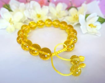 Large citrine round adjustable bracelet, large chunky mustard yellow citrine round bracelet, Buddhist prayer bead citrine bracelet