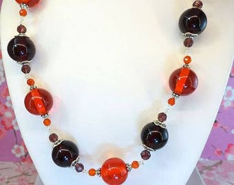 Red orange and burgundy red chunky round amber bead statement necklace, large round red and orange amber bead necklace