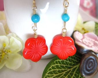 Red and blue cherry blossom dangle earrings, red resin sakura Japanese dnagle earrings