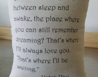 Sympathy gift pillow thinking of you gift cotton throw pillow remembrance cushion canvas keepsake bereavement gift Peter Pan quote decor