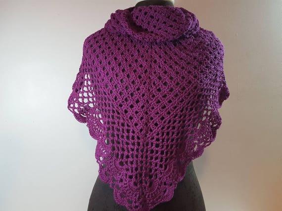 Plum purple lace shawl, lightweight openwork lace shawl, crocheted prom caplet, Mothers Day shawlette, Victorian lace shawl, bridal fashion