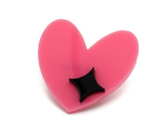 Retro Pink Heart & Star Acrylic Brooch Pin