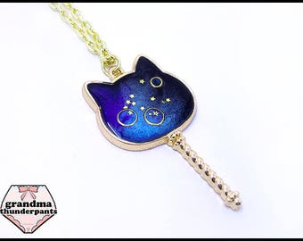 Cat Wand Necklace, Space Cat, Cat Necklace, Magical Girl Cat, Galaxy Jewelry