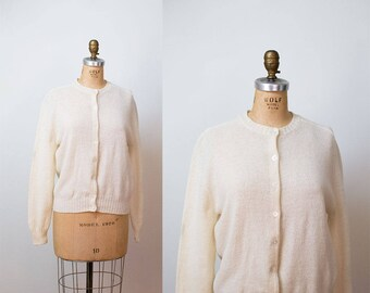1960s Cardigan / 60s Cream Wool Sweater