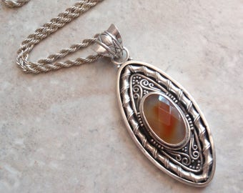 Checkerboard Agate Necklace Marquise Shape Sterling Silver Indonesia 18 Inch Rope Chain Vintage V0230