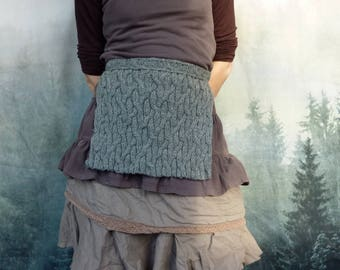 Ancestors Apron, hand-knitted, gray wool-mix wool, layered look, Scottish