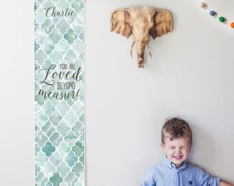 Custom/ Personalized Loved Beyond Measure canvas growth chart with blue and gray watercolor trellis design - boy or gender neutral nursery