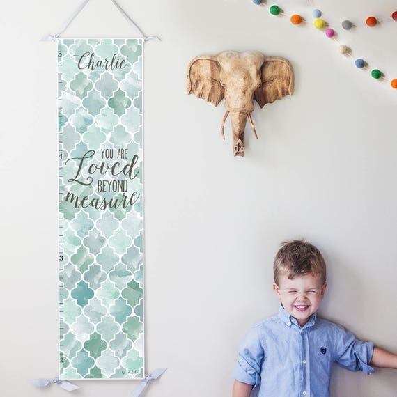Personalized Loved Beyond Measure canvas growth chart with blue and gray watercolor trellis design