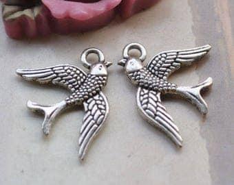 36 birds, bird pendant, bird charms, antique silver double side bird necklace, charm, pendants, Jewelry beads drops 16x20mm