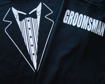 Wedding Tuxedo Black Tux Tshirt - Mens size S - 4XL Tux shirt- Groom, Bestman, Groomsmen- Rehearsal Dinner Shirt -