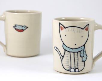 Cat Coffee Mug Handmade Ceramic Mug Cat Illustration Cat Mug Cute Pottery Tea Cup Large Mug Cat Pottery Animal Themed Pottery Cute Gifts
