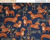ON SALE Handsome Dachshund Dogs Print on Navy Pure Cotton Fabric--By the Yard