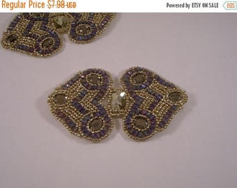 ON SALE Amethyst Color and Gold Beaded Applique--One Piece