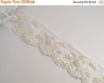 ON SALE Pale Yellow on White Heavily Beaded Lace Trim--One Yard