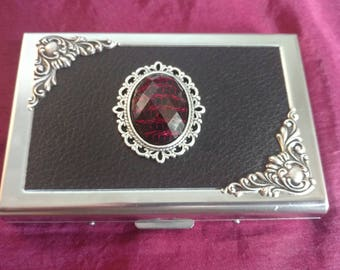 Spellbound Faux Leather Business Card Case / Credit Card case / wallet / card holder with Red &Black stone,  silver edging