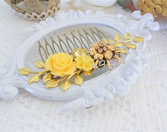 Yellow Hair Comb, Floral Hair Comb, Assemblage Hair Comb, Gold Leaf Hair Comb, Collage Hair Comb, Vintage Bride, Crystal Comb, Jonquil