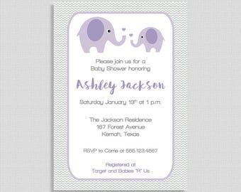 Elephant Baby Shower Invitation, Lilac and Grey Chevron Shower Invite, Gender Neutral, Purple, DIY PRINTABLE
