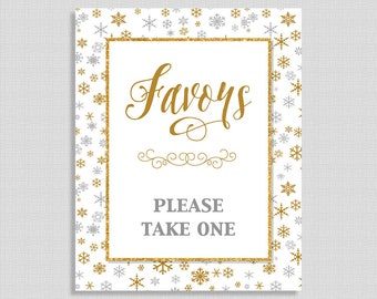 Winter Favor Sign, Silver & Gold Snowflake Shower Table Sign, INSTANT PRINTABLE