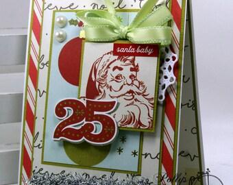 Santa Baby Retro Inspired Christmas Greeting Card Polly's Paper Studio Handmade