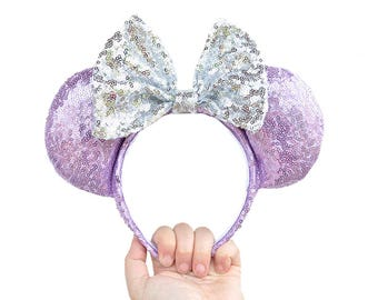 Purple Full Sequin Mickey Mouse Ears Minnie Mouse Ears Glitter Sequin Mickey Ears