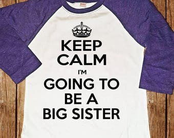 FLASH SALE NEW Color Purple Raglan - Big Sister Shirt - Big Sister Raglan - Personalized Big Sister Raglan Shirt - Purple Shirt
