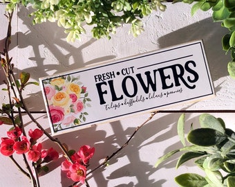 Selah Signs Fresh Cut Flowers miniblock farmhouse style farmhousesign dining room sign dining room decor farmers market