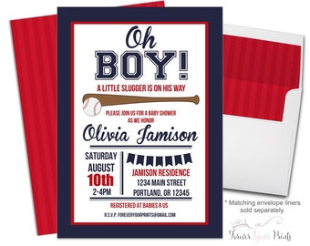 Baseball Baby Shower Invitation - Baby Shower Invitation Boy - Baseball Baby Shower Invites - Baseball Party Invite - Baseball Invitations