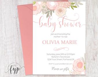 Baby Girl Shower Invitation, Floral Baby Shower Invite, Baby Shower Invitation Girl, Baby Sprinkle Invitation, Watercolor Invitation, Peach