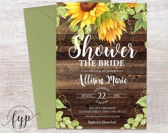 Rustic Bridal Shower Invitation - Floral Bridal Shower Invite - Rustic Wedding Shower - Country Wedding - Bridal Brunch - Shower The Bride