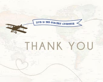 Travel airplane Thank you cards - set of 12
