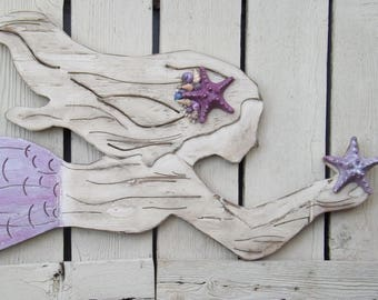 Large Wood Mermaid With Shimmering Purple Tail~Large Mermaid Wall Art~Mermaid Decor~Mermaid Wood Cut Out~PURPLE Mermaid ~Nautical~Mermaid