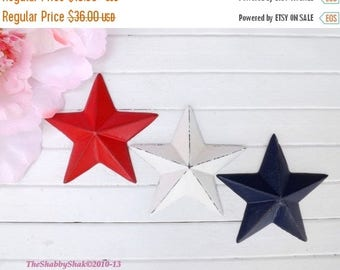 ON SALE On Sale Wall Decor / Star Wall Decor / Cast Iron Star / Metal Wall Decor /Patriotic / Red / White / Blue / Shabby Chic Decor