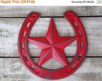 ON SALE Lucky Horseshoe~Horseshoe and Star Wall Plaque~Horseshoe Sign~Western Wall Decor~Red Lucky Horseshoe