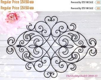 ON SALE Wrought Iron Wall Decor / Black Wall Decor/ Fleur De Lis  / Headboard / Wrought Iron Headboard/ Shabby Chic Decor