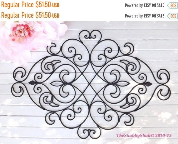 ON SALE Wrought Iron Wall Decor / Black Wall Decor/ Fleur De Lis  / Headboard / Wrought Iron Headboard/ Shabby Chic Decor