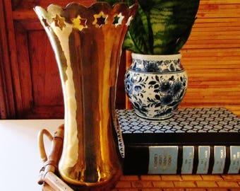 Vintage Brass Bud Vase, Star Motif, American Style, Fourth of July Brass, Hollywood Regency Brass Vase, Brass Decor