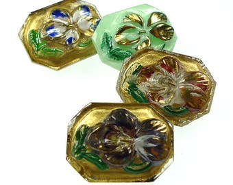 Group of 4 glass buttons
