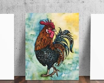 The Rooster from Original Watercolor Pen and Ink by Cat Paschal Dolch Art Poster Print