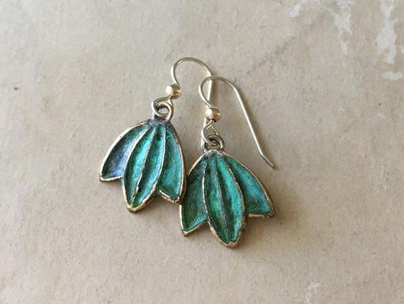 Green Leaf Earrings, Verdigris Patina Earrings, Bronze Jewelry