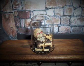 Dollhouse Haunted Oddities Collection Cloche Witch Wizard OOAK Skull