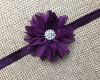 RECEIVED LISTING- Plum Lace Headband, Dark Purple Lace Headband, Eggplant Headband- Flower Girl, Wedding